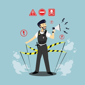 Flat illustration of police character