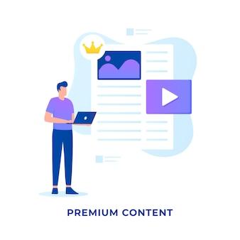 Flat illustration premium content concept for websites