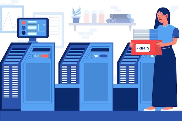 Industria della stampa di illustrazioni piatte