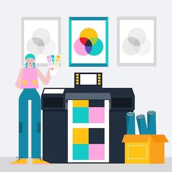 フラットイラストレーション印刷業界