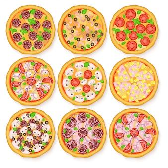 Flat illustration of realistic pizza set