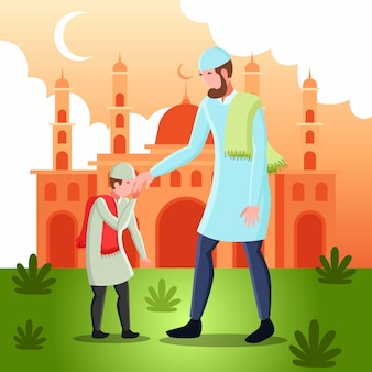 Flat   illustration representing a muslim man shaking hands with his son for forgiveness on eid mubarak day