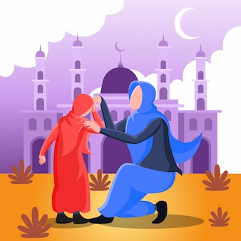 Flat   illustration representing a muslim mother shaking hands with her daughter for forgiveness on eid mubarak day