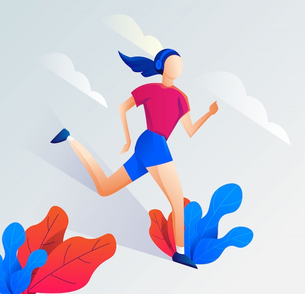 Flat illustration of a running person with a clean, elegant design. vector
