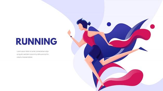 Flat illustration. running