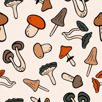 Flat illustration seamless pattern mushrooms icons. doodle objects are cut out.