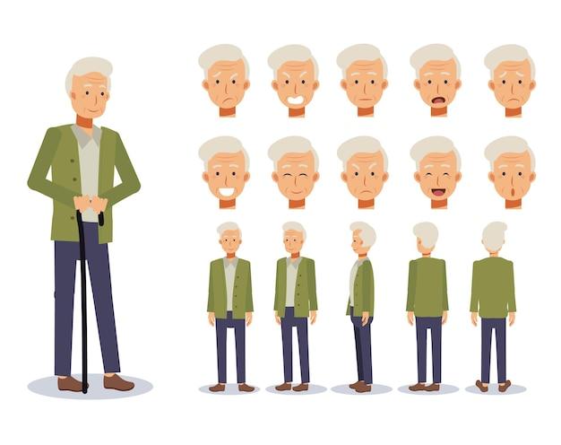 Flat illustration set of old man