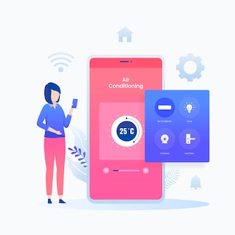 평면 그림 스마트 홈 응용 프로그램 개념입니다. 웹 사이트, 방문 페이지, 모바일 애플리케이션, 포스터 및 배너에 대한 그림입니다.