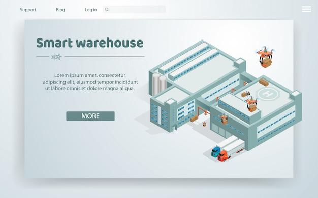 Flat illustration smart warehouse at huge building