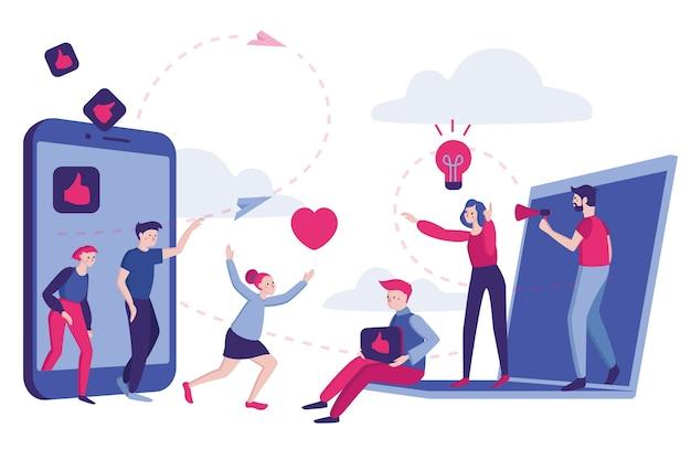 Плоская иллюстрация. социальные сети и связи с общественностью, дела, общение, живые свидания. метод привлечения новых клиентов из уст в уста. люди оставляют комментарии и лайки.