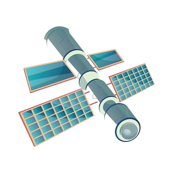 Flat illustration of space station on white