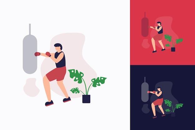 권투의 평면 그림 스포츠