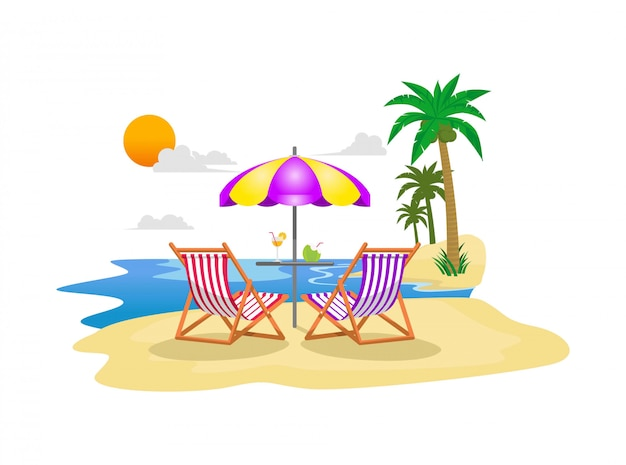 Flat illustration summer holiday on beach with palm trees, chair, an umbrella and blue water ocean