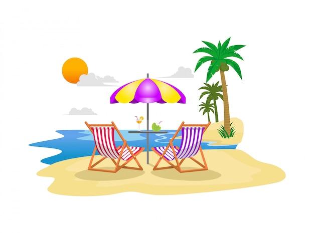 Плоская иллюстрация летний отдых на пляже с пальмами, стулом, зонтиком и голубой водой океана