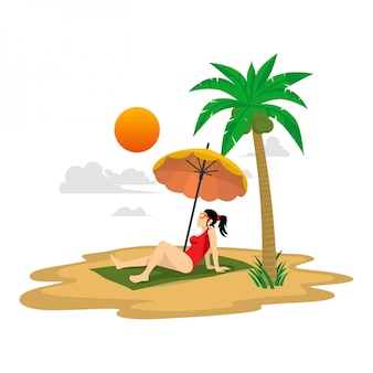 Flat illustration summer holiday sit on the beach under the yellow umbrella with palm trees, sun and clouds background
