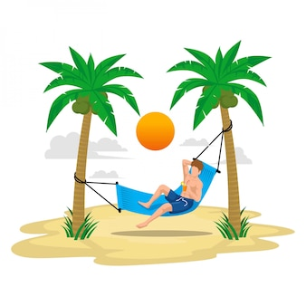 Flat illustration summer holiday with beach and palm trees, enjoy the drink on the swing under the sunlight