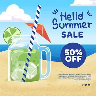 Flat illustration for summer sale with discount