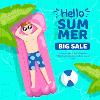 Flat illustration for summer sale