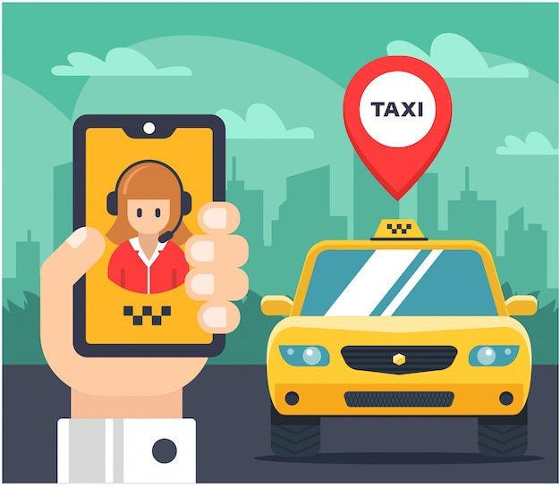 Flat illustration of a taxi order. car tagged. the hand holds the phone and speaks with the taxi operator.