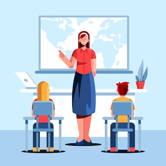 Illustrazione piatta dell'insegnante con gli studenti