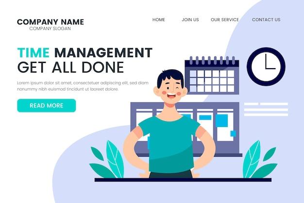 Pagina di destinazione della gestione del tempo illustrazione piatta