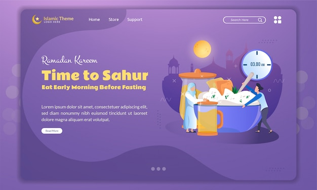 Flat illustration of time to sahur or eat early morning before fasting on landing page