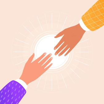 Flat illustration of two hands helping a friend. the concept of support and mutual assistance.