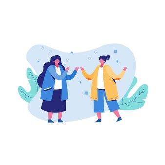 Flat illustration two woman friend enjoying conversation isolated on white