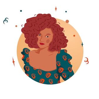 ウェーブのかかったブロンドの髪を持つかわいいラティーナの女の子のフラットイラストベクトルグラフィック。茶色の美しい少女