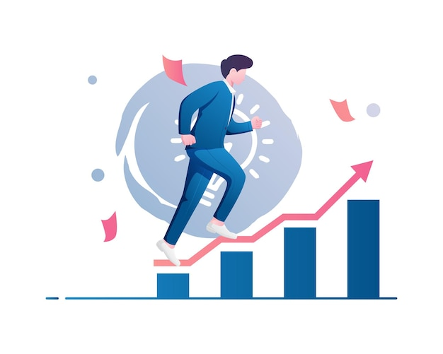 Flat illustration vector graphic of young man hurry up consisting of finance graph