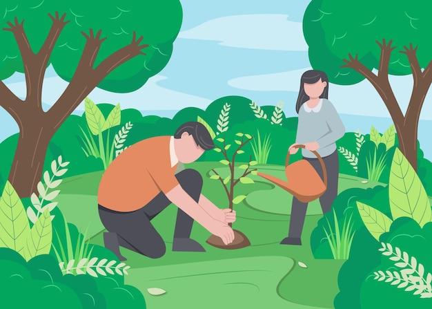 フラットイラストベクトル、木を植える人、惑星を節約する、エネルギーを節約する、アースデイベクトルの概念