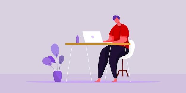 Плоские векторные иллюстрации работа из концепции домашнего рабочего места и бизнес, умный рабочий онлайн, соединяются в любом месте концепции