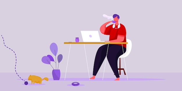 Flat illustration vector work from home workplace concept and business smart working online connect anywhere concept