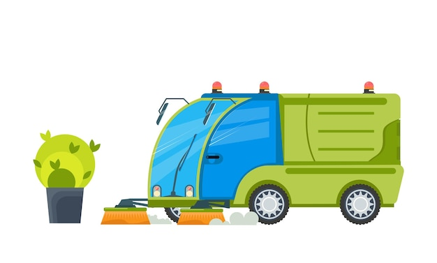 Flat illustration of vehicle cleaning streets with brushes on white