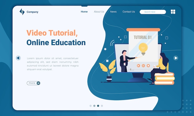 Flat illustration of video tutorial about online education landing page template