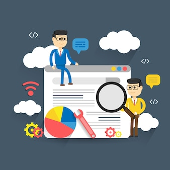 Flat illustration web analytics design, seo optimization