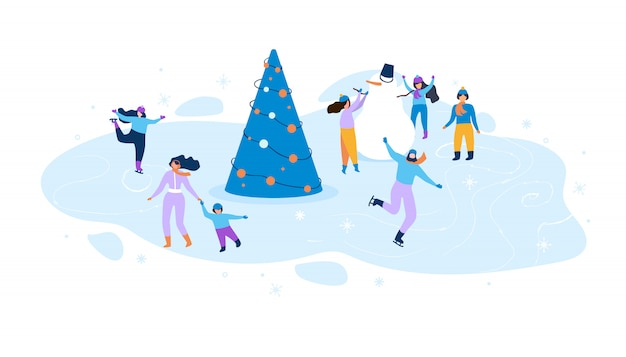 Flat illustration winter fun for kids and adults.