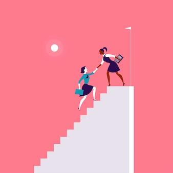 赤い背景に一緒に白い階段の上に登るビジネスの女性とフラットなイラスト。勝利、達成、目標の達成、パートナーシップ、モチベーション、女性チーム、フェミニズム-比喩。