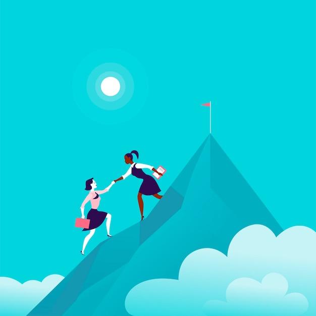 青い曇り空の背景に山の頂上に一緒に登るビジネスの女性とフラットなイラスト。チームワーク、達成、目標の達成、パートナーシップ、モチベーション、サポート、-比喩。