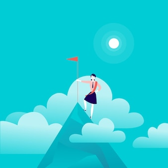 Плоская иллюстрация с бизнес-леди, стоящей на вершине горы