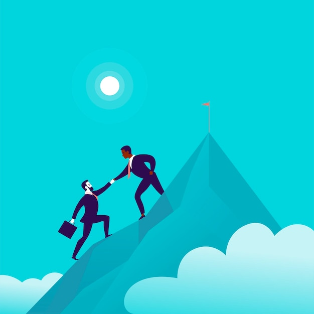 青い曇り空の背景に山頂に一緒に登るビジネスマンとフラットなイラスト。チームワーク、達成、目標の達成、パートナーシップ、モチベーション、サポート-比喩。