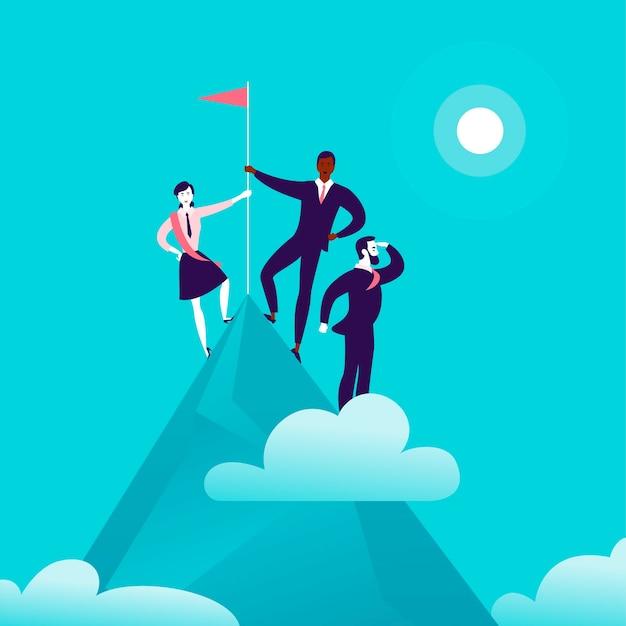 푸른 흐리게 하늘 배경에 깃발을 들고 산 정상에 서 있는 비즈니스 사람들과 평면 그림. 승리, 성취, 목표 달성, 파트너십, 동기 부여, 리더 - 은유.