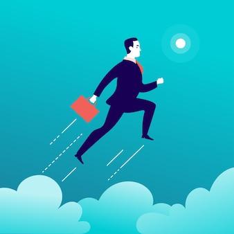 青い空にlcoudsの上にジャンプするビジネスマンとフラットなイラスト。モチベーション、上向きの動き、願望、新しい目的と視点