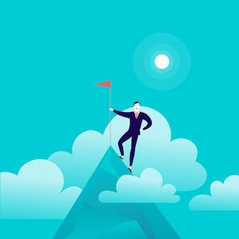 Плоская иллюстрация с бизнесменом, стоящим на вершине горной вершины