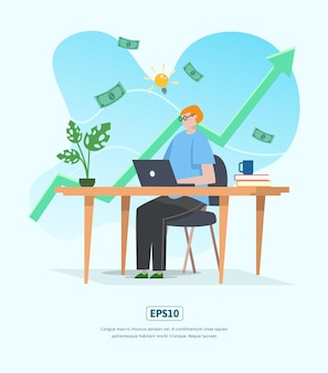 Flat illustration with character, statistics growing business used for web, app, infographic, advertising, etc