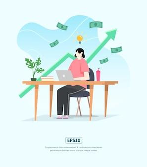 문자, 통계 성장하는 비즈니스와 평면 그림
