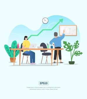 キャラクター、統計成長ビジネスのフラットイラスト