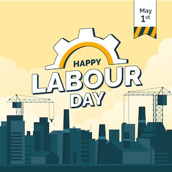 Flat illustration with city for labour day
