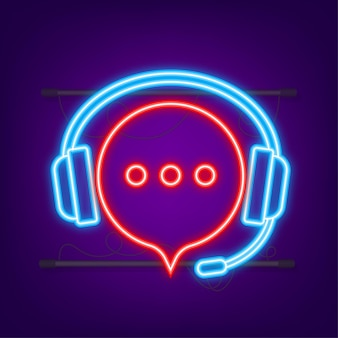 Flat illustration with customer service. customer support service. neon icon.