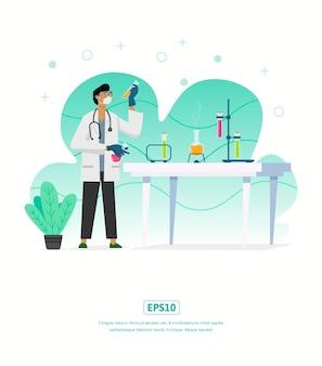 Плоская иллюстрация с иллюстрацией доктора в лаборатории со столом химических жидких растений